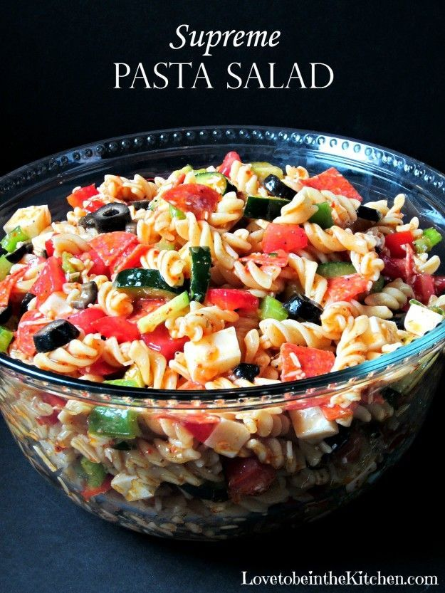 Supreme Pasta Salad- Easy to put together, packed with veggies and flavor! This is sure to be a hit at your next get-together!