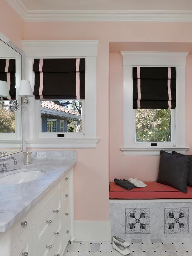 Black, White and Pink Bathroom