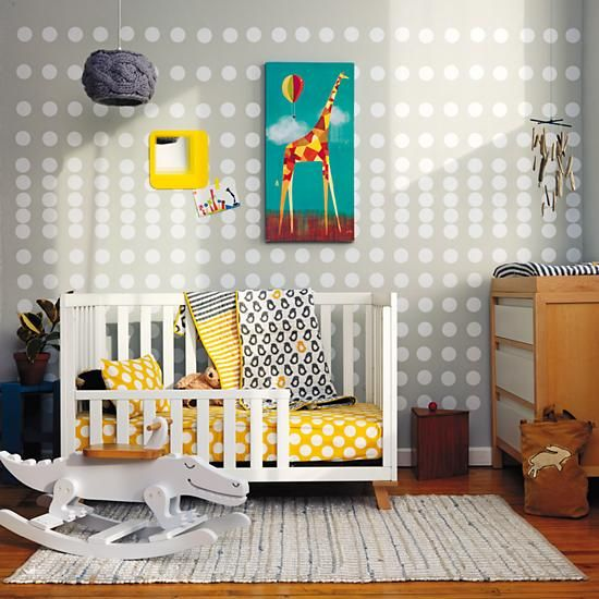 want the dots for a wall... so cute! The Land of Nod   New School Toddler Bedding (Not a Peep) in Toddler Bedding