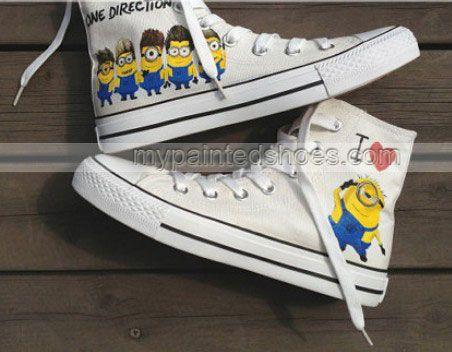 #Despicable Me Shoes minion shoes High-top Painted Canvas Shoes,High-top Painted Canvas Shoes