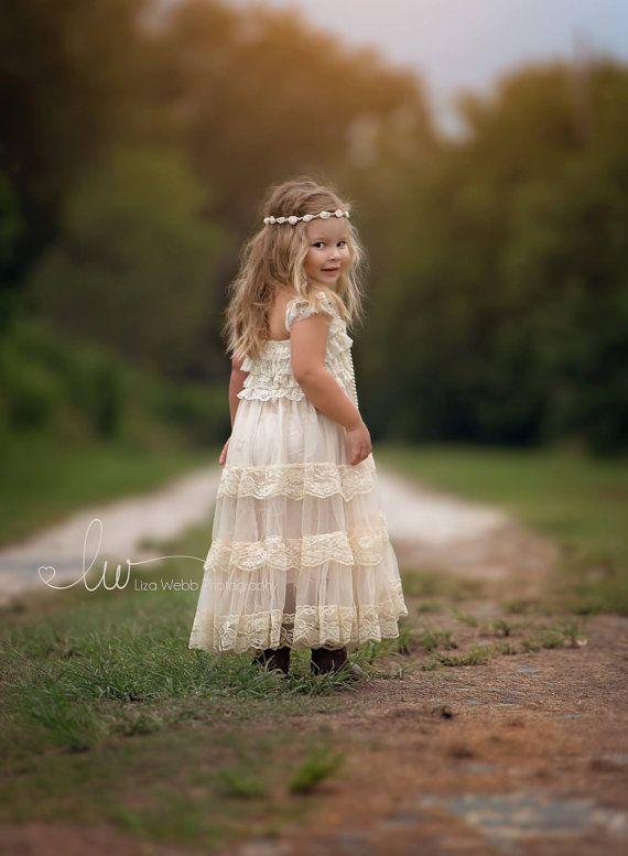 encaje vestido de niña de flor, vestido de la muchacha de flor, vestidos de flores niña, país niña vestido de flores, encaje vestido de niña, vestido del bebé, vestido de encaje marfil