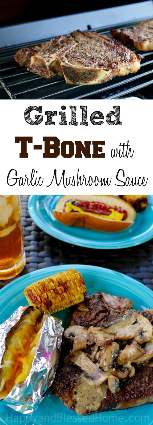 As if a tender, juicy, perfectly grilled T-bone steak wasn't enough.. Add this mouthwatering Garlic Mushroom Sauce for even more flavor! So easy to make and perfect for summer grilling. Ad It's a #SummerOfGrilling with @gianteagle