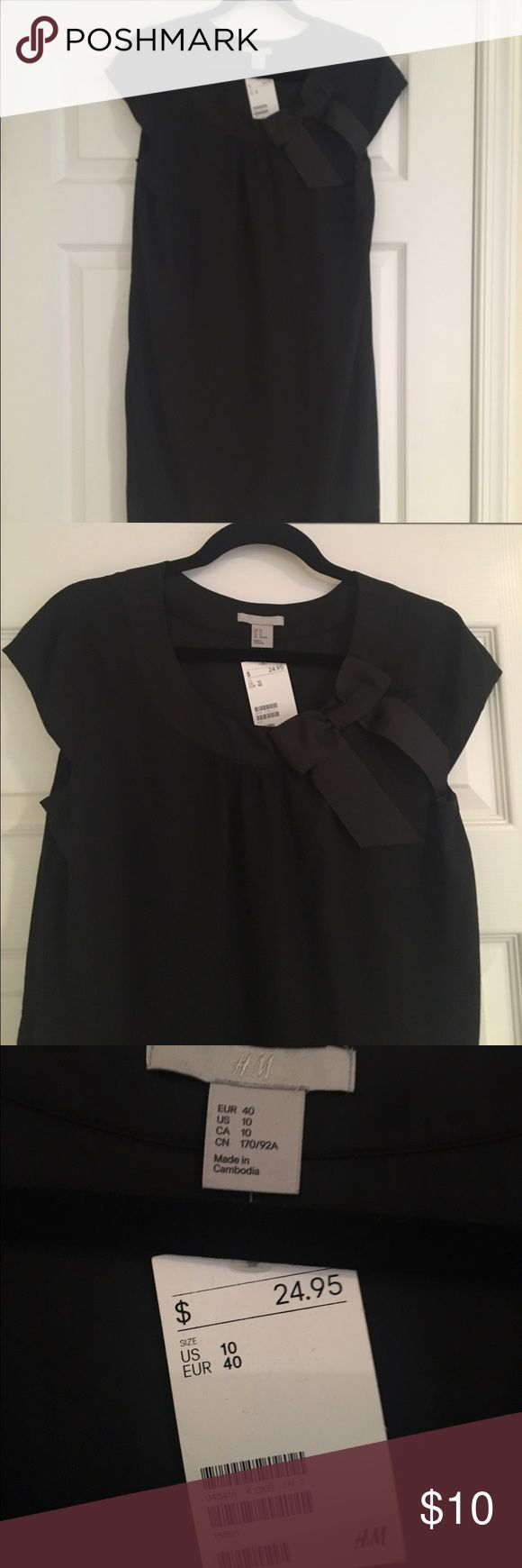 H&M black shift dress. NEW WITH TAGS Satin-y black shift dress! Cute silly bow and neckline! Size 10, no give or stretch. NEW WITH TAGS H&M Dresses
