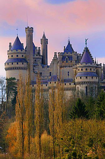 Pierrefonds Castle in Picardie (Picardy), France. Rebuilt during the 19th. century by Viollet-le-Duc, it is mostly a reinterpretation of what would have been a medieval castle... adapted to the19th century way of life of the emperor Napoleon III who ordered the work.