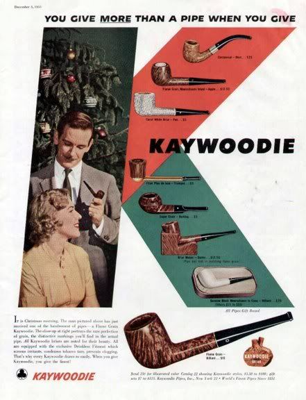 Vintage Christmas Ad (1955): Kaywoodie Pipes: Christmas Ads, Ads 1955, Pipes Ads, Vintage Christmas, Tobacco Pipes, Photos 1955 Kaywoodie Jpg, Kaywoodi Pipes, Pipes Smoke, Pipes Adverti