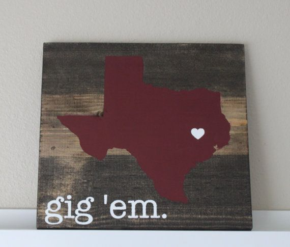 Texas A&M College Station Sign State of Texas Wood Sign, Wedding Gift Book on Etsy, $37.99
