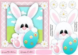 Cute White Bunny with Egg ,