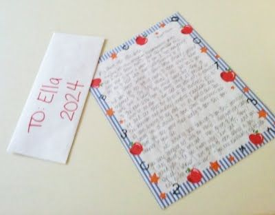 write a letter to your child on her first day of kindergarten. give it to her at the end of senior year.