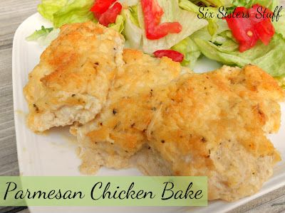 Parmesan Chicken Bake- a delicious meal that can be made with items you have on hand! SixSistersStuff.com #chicken #recipe