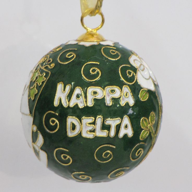 Officially licensed Kappa Delta, handcrafted, 24k gold plated cloisonne ornament - www.KittyKeller.com