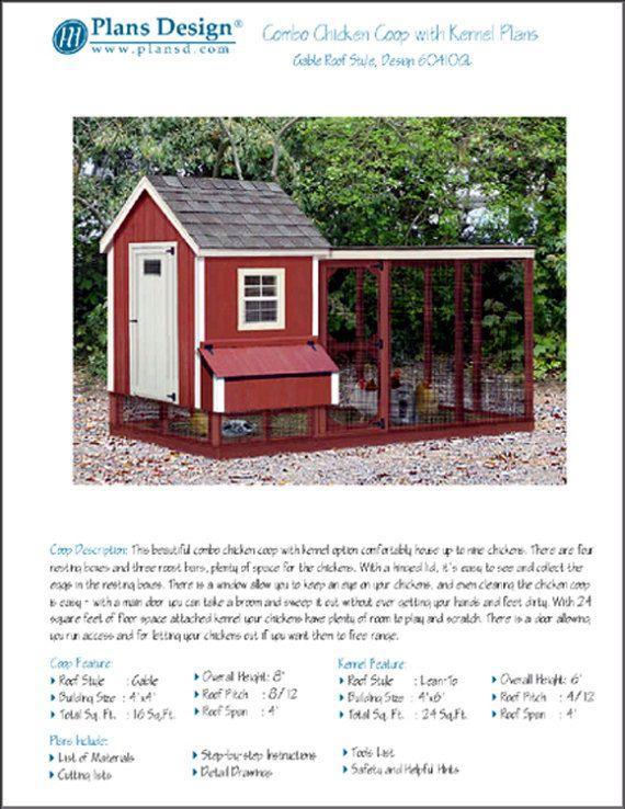 Deux-en-un jardin poulailler Plans avec chenil / courir, Design # 60410GL