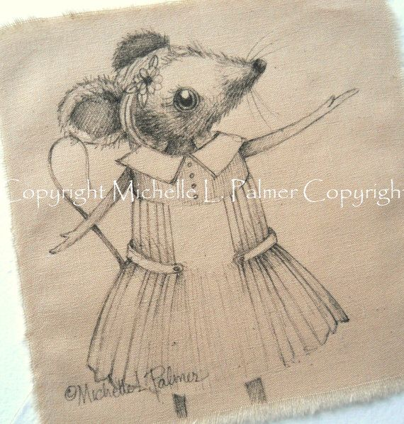 Little Girl Mouse original pen ink illustration on fabric Quilt Label by Michelle Palmer