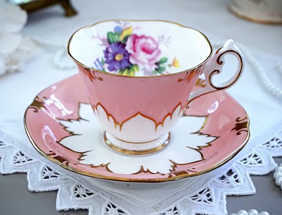 Paragon Tea Cup and Saucer Peach Pink with by TeacupsAndOldLace