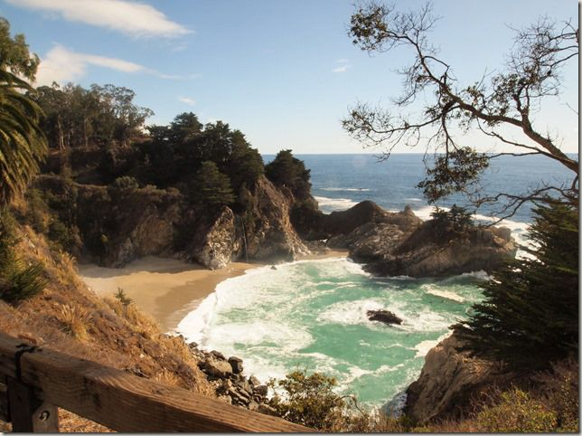 Just opposite the entrance to Pfeiffer State Park in Big Sur, a path leads down and you can see this waterfall which falls onto an inaccessible beach. It used to fall into the sea but a landslide further up the coast caused a beach to build up so now it falls onto the sand. #travel #beautifulplaces #coastline #waterfalls #beaches #pacificocean