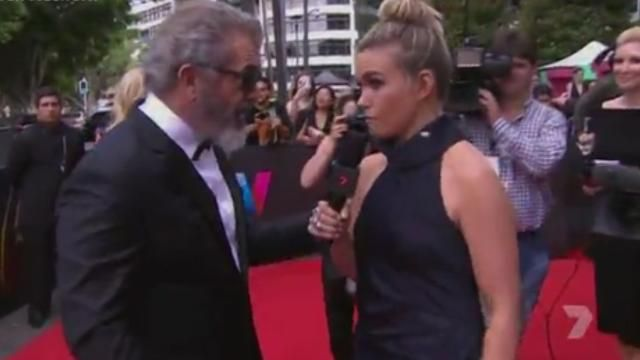Mel Gibson trashes Channel 7 reporter's interview with blunt question.