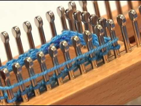 Learn how to knit in the flat stitch, purl stitch and the stockinette stitch on the sock loom.
