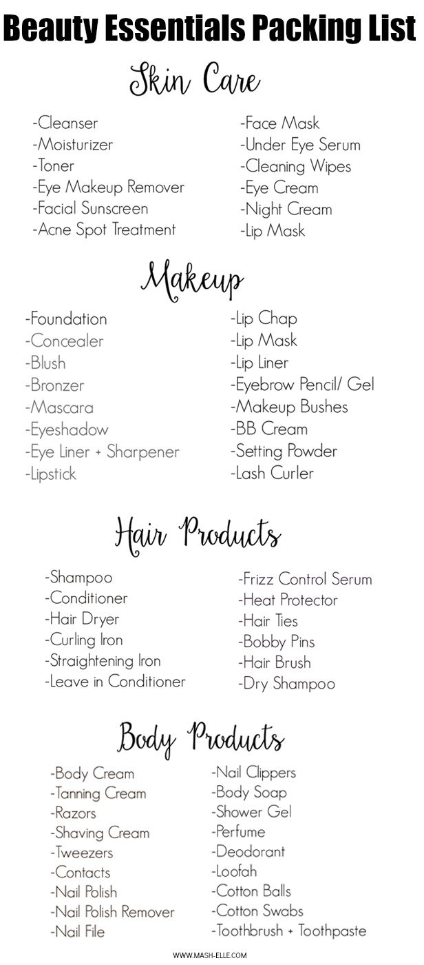 FINALLY a complete packing list of all the beauty products you could ever need!