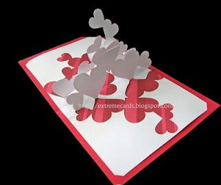 Extreme Cards and Papercrafting: pile of hearts pop up card. tutorial!! and file