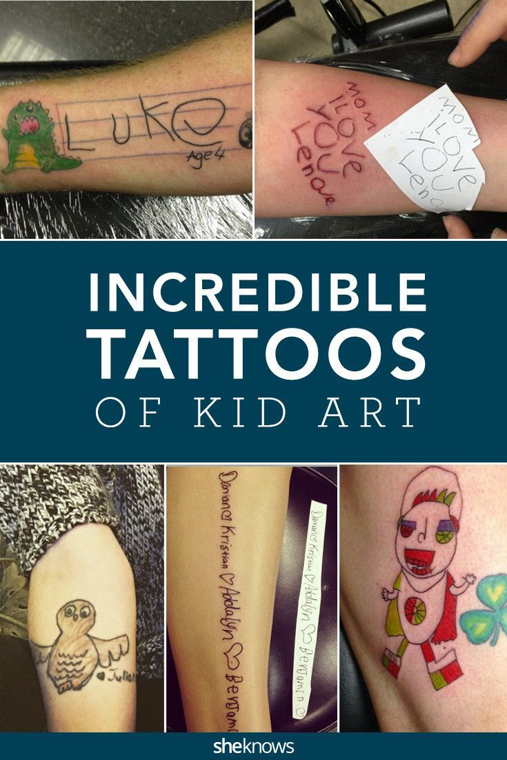 These parents loved their kids' artwork so much they had it inked on their own bodies. From love notes in their handwriting to adorable animals, check out some of the very best tattoos drawn by kids. #Tattoos