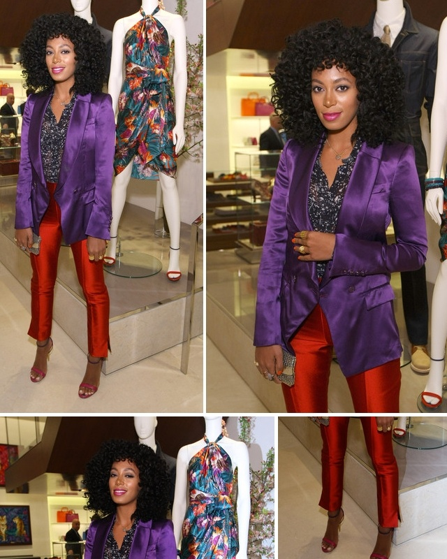 Solange color blocking. I love her style and her hair :): Salvatore Ferragamo, Color Blocking, Jewel Tones, Solange Color, Solange S Jewel, Styles, Inspirational Style, Dream Hair