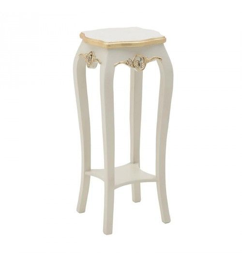 WOODEN FLOWER STAND IN WHITE_GOLDEN COLOR 32X32X77