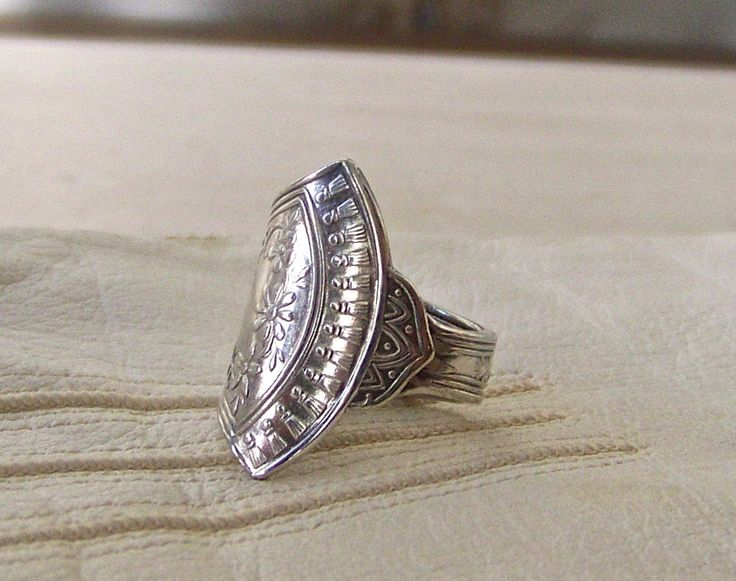 Vintage Spoon Ring Wedding Ring Silver Plate Spoon Wide Band Size 3 Pinkie Anniversary Hippie Culture 1960s. by cynthiasattic on Etsy
