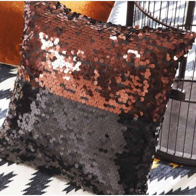 Sequins Two-Tone Square Cushion Bronze/Black