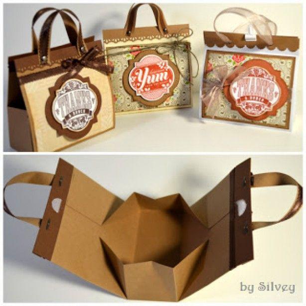 Leuk tasje om zelf te maken , cadeau's in weg te geven http://stampwithsilvey.blogspot.ca/2012/08/mini-bag-tutorial.html