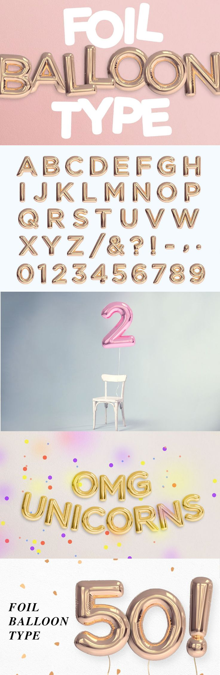 Foil Balloon Type Photoshop template file to help you create realistic foil balloon words.   PSD files of letters, numbers and some special characters.   - Organised layered file  - Separated and movable letters  - Easy drag and drop  Notes:   - This is NOT a font or a vector file.  - File contains the alphabet layout with dimensions of 6945w x 4911h pixels. Each letter is approx 750x750px @ 300 dpi. Adjust colour and level of type through adjustment layers.  (Aff Link)