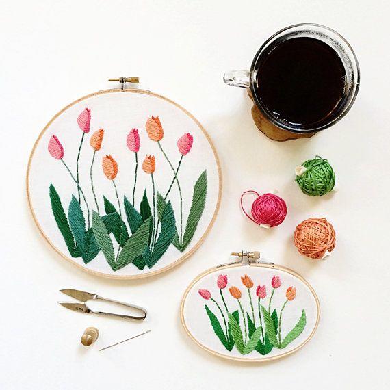 Made to Order Tulip Hoop Art  Modern Hand por SarahKBenning en Etsy