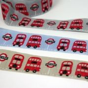 WOVEN RIBBON - LONDON BUSWoven Ribbons, London Buses, Bus Webband, Bus Beige'S Grey Lightblue, Bus Ribbons, Londonbus, Cake Ribbons, Bus Beigegreylightblu, Beautiful Ribbons