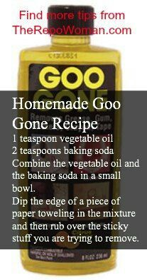 Homemade goo gone recipe - I never have goo gone when I need it, but I always have these ingredients...