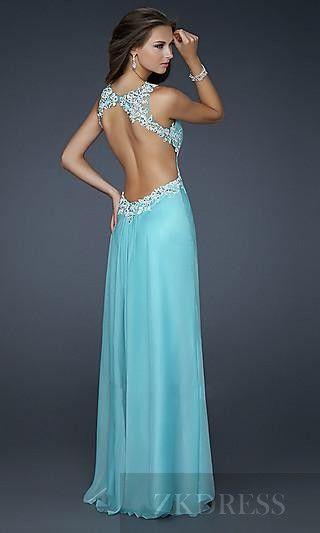 Sexy Natural Long Sleeveless A-Line Elastic woven satin Evening Dress zkdress23025