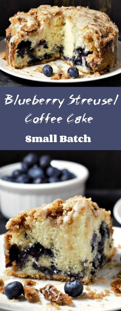 This Blueberry Streusel Coffee Cake is moist, fluffy and filled with fresh blueberries, crumbly cinnamon streusel topping, and drizzled with a sweet glaze. This cake smells amazing as it bakes and tastes even better! This recipe makes a small batch of four pieces and goes perfect with your morning coffee for breakfast, mid-day brunch, or evening dessert. #CoffeeCake #blueberry #SmallBatch #breakfast #brunch #CinnamonStreusel
