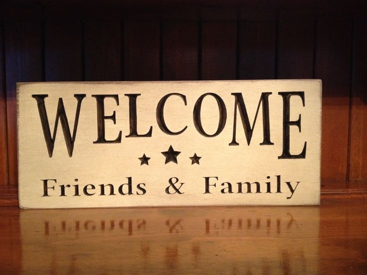 """Custom Carved Wooden Sign - """"Welcome Friends & Family"""" by HayleesCloset on Etsy"""