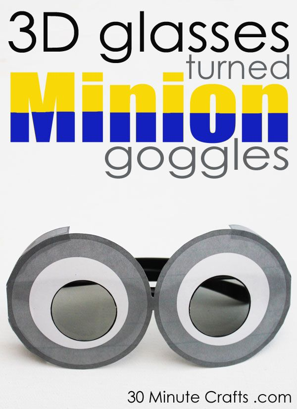 This is so clever! Free Printable to make Minion Goggles out of 3D glasses for watching Despicable Me 2