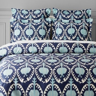 Printed Marrakesh Ikat Bedding, Standard Sham, Navy/Blue
