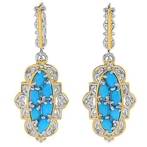 """158-911 - Gems en Vogue 1.5"""" Multi Shape Sleeping Beauty Turquoise Cluster Drop Earrings"""