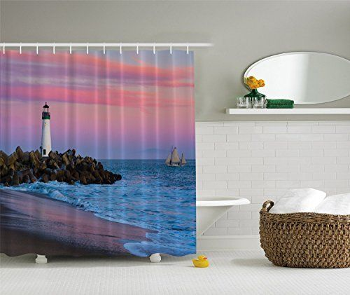 Santa Cruz Lighthouse Sunset on Beach Shower Curtain - Beachfront Decor