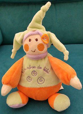 Bebe-Doudou-lutin-vert-orange-doux-souple-20-cm-UN-REVE-DE-BEBE-Baby-soft-toy