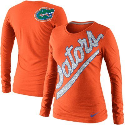Nike Florida Gators Ladies Angled Script Long Sleeve Tri-Blend T-Shirt - Orange