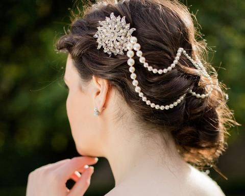 Deco Style Draped Wedding Hair Pearls, Serena
