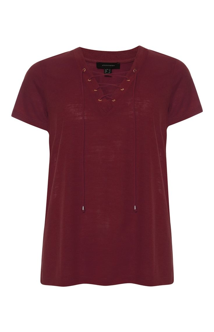 Burgundy Lace Up Front Top