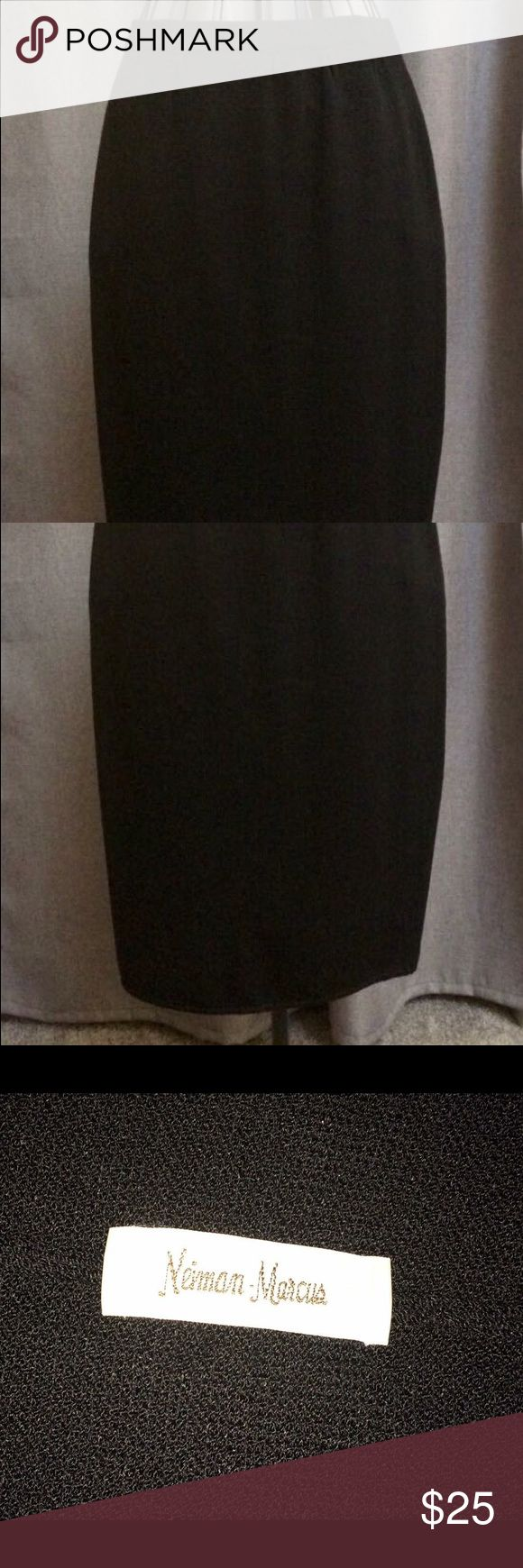 NEIMAN MARCUS knit skirt 🖤 Neiman Marcus black skirt (most likely vintage)! No size tag inside skirt, only the store label (pictured). Waist measures at approx 27 inches (will stretch a bit with elastic waistband), total skirt length is 25 inches. Gorgeous knit skirt, like-NEW condition! 🖤 Neiman Marcus Skirts Midi