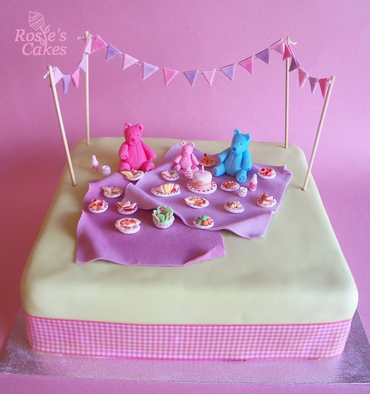 Family Food And Fun First Birthday Cake: Pink Teddy Bears' Picnic Cake With Pink And Purple Bunting