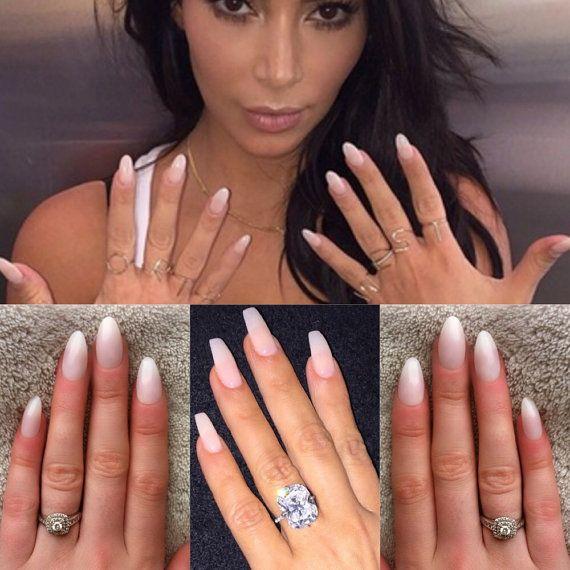Natural nails kim kardashian press on nails false nails by CrystalNailBoutique | Etsy