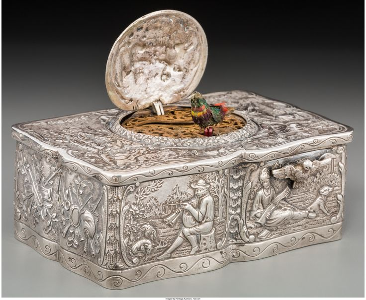 A German Silver Singing Bird Automaton Box, late 19th century