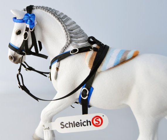 Amazing handmad tack on etsy for Schleich! BAREBACK pad with bitless BRIDLE for SCHLEICH model by Maestozo