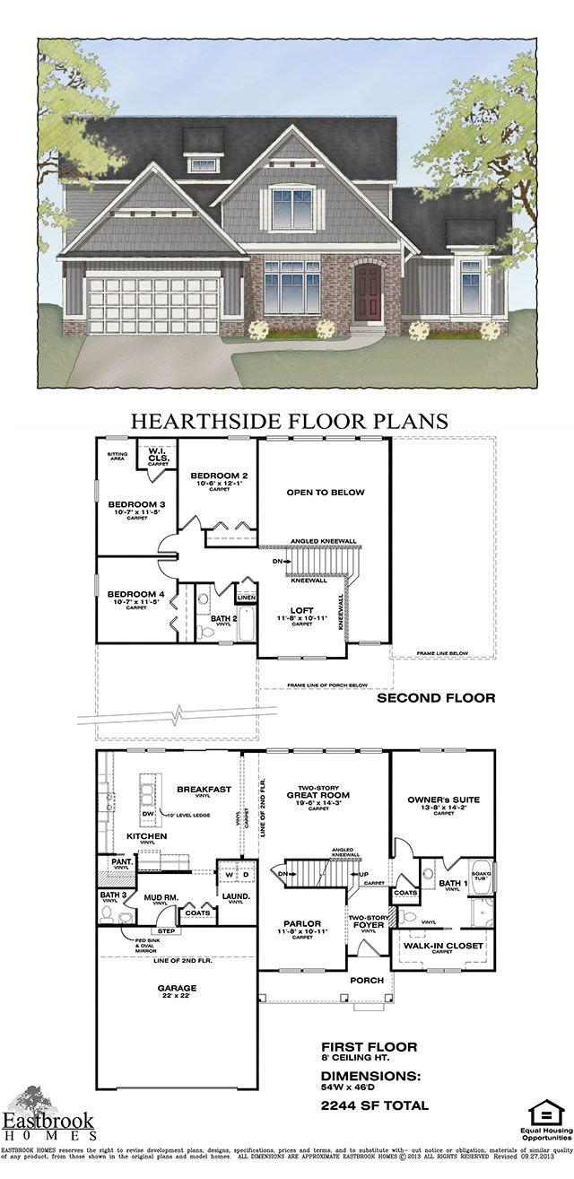 32 best eastbrook homes images on pinterest floor plans condos hearthside floor plan by eastbrook homes square footage 2244 floors 2 bedrooms 4 bathrooms master suite first floor laundry first floor
