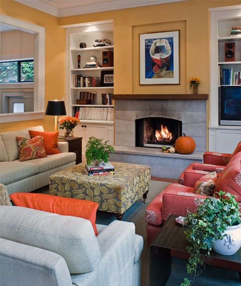 64 best images about orange living room on pinterest for Grey orange living room